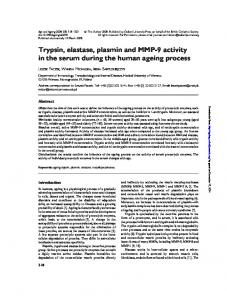Trypsin, elastase, plasmin and MMP-9 activity in the serum during the human ageing process