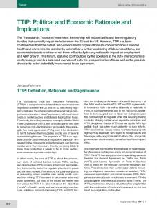 TTIP: Political and Economic Rationale and Implications