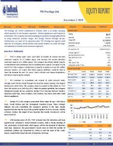TTK Prestige Ltd. BUY. December 3, Investor s Rationale