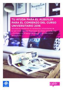 TU AYUDA PARA EL ALQUILER PARA EL COMIENZO DEL CURSO UNIVERSITARIO 2016