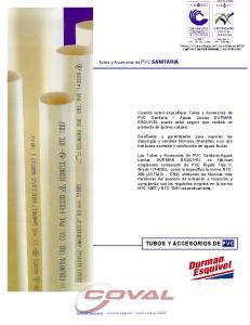 TUBOS Y ACCESORIOS DE PVC. Tubos y Accesorios de PVC SANITARIA