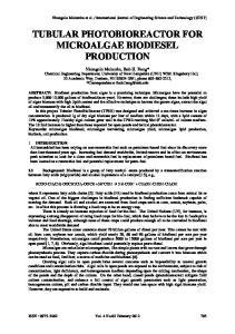 TUBULAR PHOTOBIOREACTOR FOR MICROALGAE BIODIESEL PRODUCTION