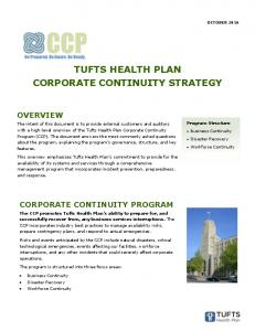 TUFTS HEALTH PLAN CORPORATE CONTINUITY STRATEGY