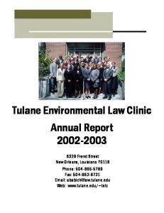 Tulane Environmental Law Clinic Annual Report