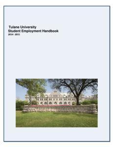 Tulane University Student Employment Handbook
