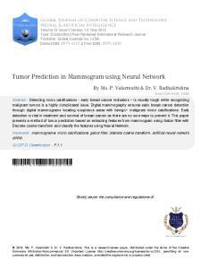 Tumor Prediction in Mammogram using Neural Network