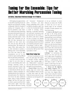 Tuning for the Ensemble: Tips for Better Marching Percussion Tuning
