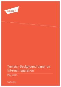 Tunisia: Background paper on Internet regulation