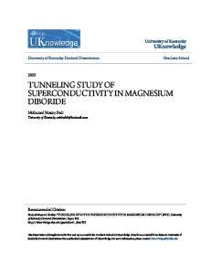 TUNNELING STUDY OF SUPERCONDUCTIVITY IN MAGNESIUM DIBORIDE