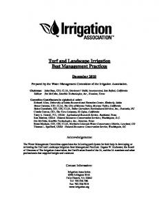 Turf and Landscape Irrigation Best Management Practices