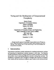 Turing and the Development of Computational Complexity