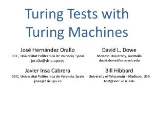 Turing Tests with Turing Machines