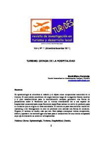 TURISMO. CIENCIA DE LA HOSPITALIDAD