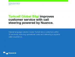 Turkcell Global Bilgi improves customer service with call steering powered by Nuance