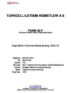 TURKCELL ILETISIM HIZMETLERI A S