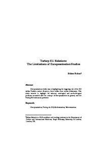 Turkey-EU Relations: The Limitations of Europeanisation Studies