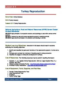Turkey Reproduction. National Agriculture, Food and Natural Resources (AFNR) Career Cluster Content Standards: