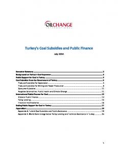 Turkey s Coal Subsidies and Public Finance