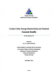 Turkey s Solar Energy Market Study and Potential Economic Benefits