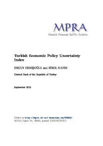Turkish Economic Policy Uncertainty Index