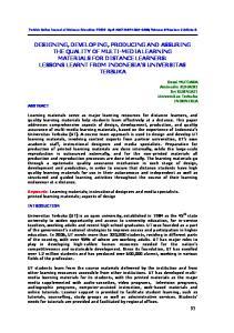 Turkish Online Journal of Distance Education-TOJDE April 2007 ISSN , Volume: 8 Number: 2 Article: 8