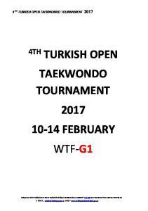 TURKISH OPEN TAEKWONDO TOURNAMENT FEBRUARY WTF-G1