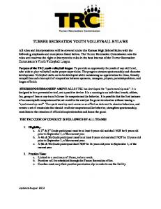 TURNER RECREATION YOUTH VOLLEYBALL BYLAWS