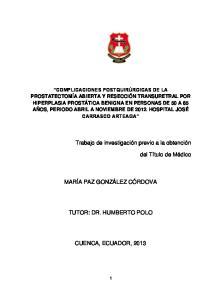 TUTOR: DR. HUMBERTO POLO
