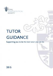 TUTOR GUIDANCE. Supporting you to be the best tutor you can be