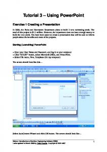 Tutorial 3 Using PowerPoint
