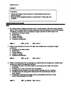 Tutorial 7 COMPETITION IN RETAILING MCQ