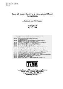 Tutorial: Algorithms For 2-Dimensional Object Recognition