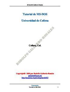 Tutorial de MS-DOS. Universidad de Colima