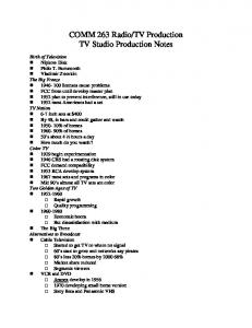 TV Production TV Studio Production Notes