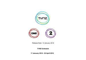 TVNZ Schedule 17 January April 2016