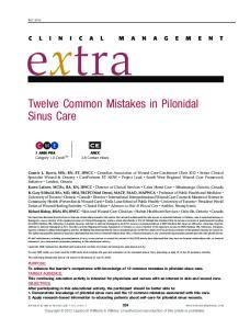 Twelve Common Mistakes in Pilonidal Sinus Care