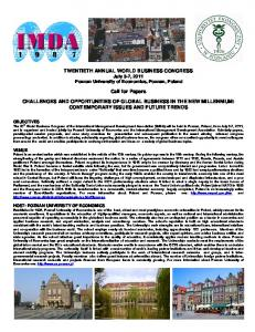 TWENTIETH ANNUAL WORLD BUSINESS CONGRESS July 3-7, 2011 Poznan University of Economics, Poznan, Poland. Call for Papers