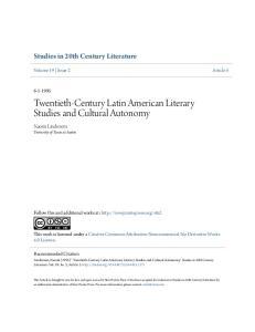 Twentieth-Century Latin American Literary Studies and Cultural Autonomy