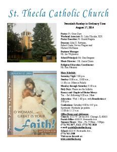 Twentieth Sunday in Ordinary Time August 17, 2014