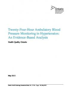 Twenty-Four-Hour Ambulatory Blood Pressure Monitoring in Hypertension: An Evidence-Based Analysis