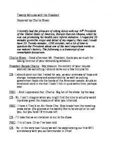 Twenty Minutes with the President Reported by Charlie Sheen