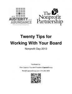 Twenty Tips for Working With Your Board