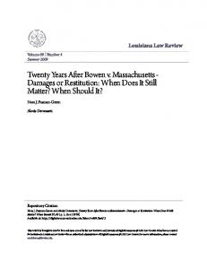 Twenty Years After Bowen v. Massachusetts - Damages or Restitution: When Does It Still Matter? When Should It?