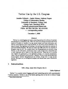 Twitter Use by the U.S. Congress