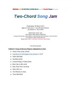 Two-Chord Song Jam. Wednesday 7th March Beginner s Workshop 7-8 pm $15 adult. $5 child. Jam Session 8-10 pm FREE