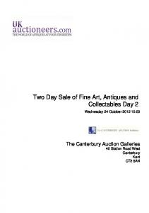 Two Day Sale of Fine Art, Antiques and Collectables Day 2