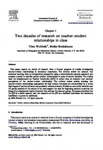 Two decades of research on teacher student relationships in class