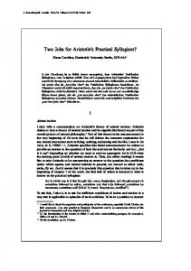 Two Jobs for Aristotle s Practical Syllogism?