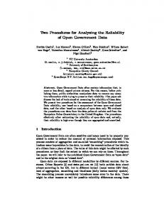 Two Procedures for Analyzing the Reliability of Open Government Data