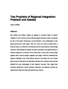 Two Prophets of Regional Integration: Prebisch and Adedeji